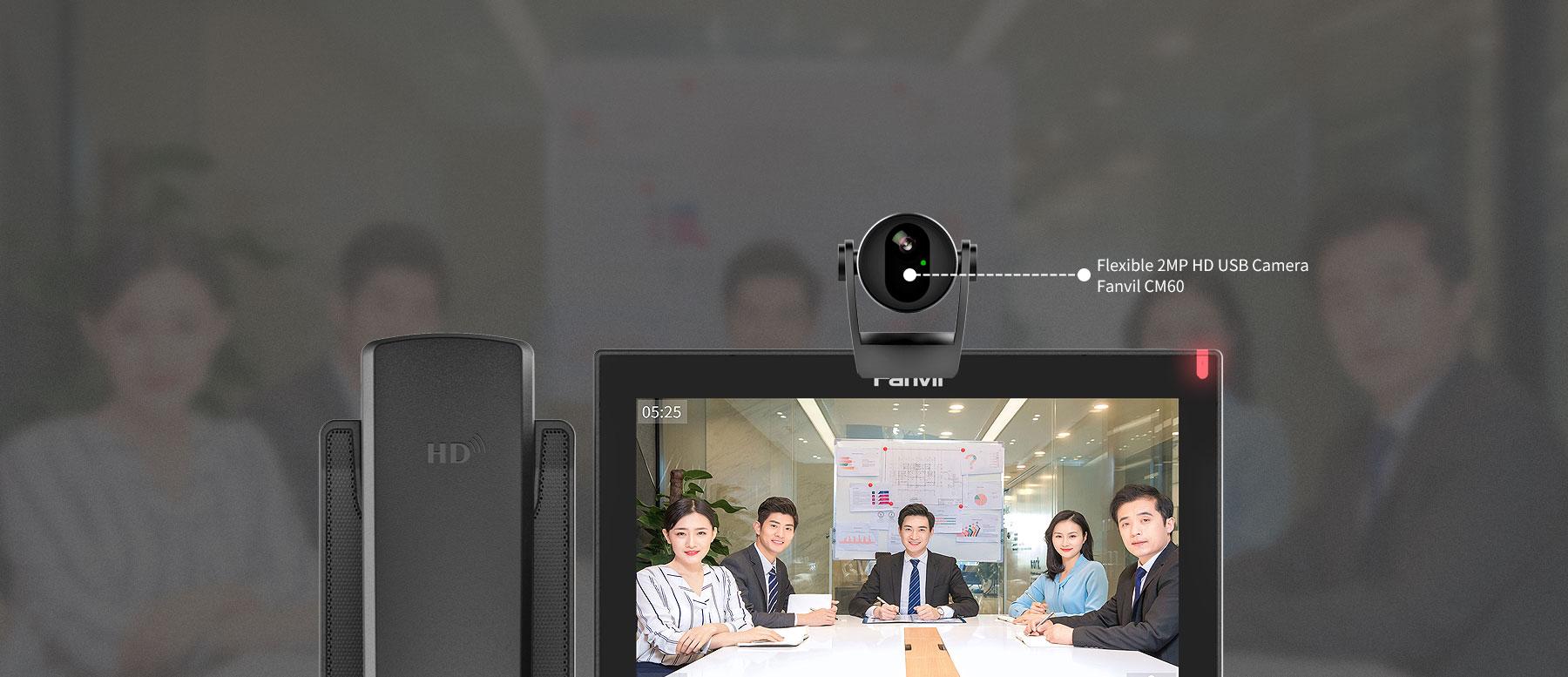 Điện thoại VoIP Fanvil X7A kết nối cuộc gọi video HD với Camera USB Fanvil CM60